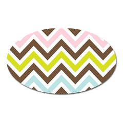 Chevrons Stripes Colors Background Oval Magnet