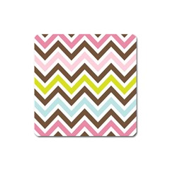 Chevrons Stripes Colors Background Square Magnet