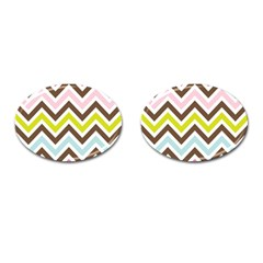 Chevrons Stripes Colors Background Cufflinks (Oval)
