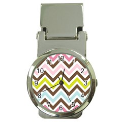 Chevrons Stripes Colors Background Money Clip Watches