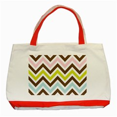 Chevrons Stripes Colors Background Classic Tote Bag (red)