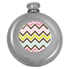 Chevrons Stripes Colors Background Round Hip Flask (5 Oz)