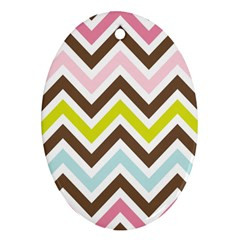 Chevrons Stripes Colors Background Oval Ornament (two Sides)