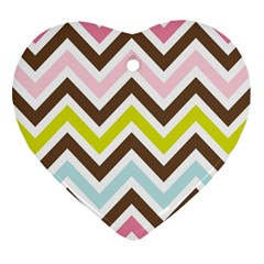 Chevrons Stripes Colors Background Heart Ornament (two Sides)