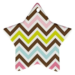Chevrons Stripes Colors Background Star Ornament (two Sides)