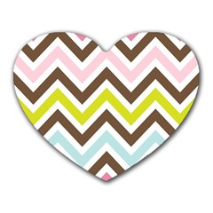 Chevrons Stripes Colors Background Heart Mousepads