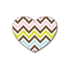 Chevrons Stripes Colors Background Heart Coaster (4 Pack)