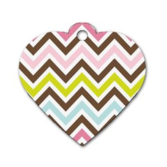 Chevrons Stripes Colors Background Dog Tag Heart (two Sides)