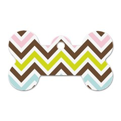 Chevrons Stripes Colors Background Dog Tag Bone (one Side)