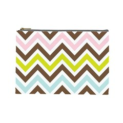 Chevrons Stripes Colors Background Cosmetic Bag (large)