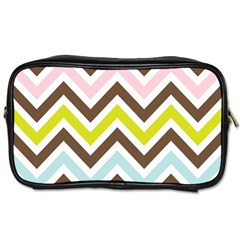 Chevrons Stripes Colors Background Toiletries Bags 2 Side