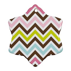 Chevrons Stripes Colors Background Ornament (snowflake)