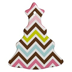 Chevrons Stripes Colors Background Christmas Tree Ornament (two Sides)