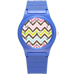 Chevrons Stripes Colors Background Round Plastic Sport Watch (s)