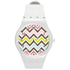 Chevrons Stripes Colors Background Round Plastic Sport Watch (m)