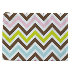 Chevrons Stripes Colors Background Cosmetic Bag (xxl)