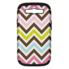 Chevrons Stripes Colors Background Samsung Galaxy S Iii Hardshell Case (pc+silicone)