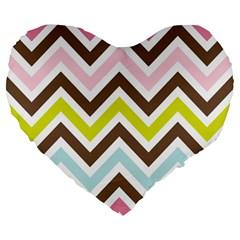 Chevrons Stripes Colors Background Large 19  Premium Heart Shape Cushions
