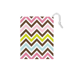 Chevrons Stripes Colors Background Drawstring Pouches (small)