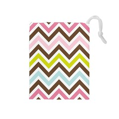 Chevrons Stripes Colors Background Drawstring Pouches (medium)