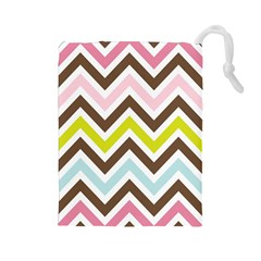 Chevrons Stripes Colors Background Drawstring Pouches (Large)