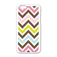 Chevrons Stripes Colors Background Apple Iphone 6/6s White Enamel Case