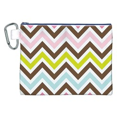 Chevrons Stripes Colors Background Canvas Cosmetic Bag (xxl)