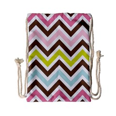 Chevrons Stripes Colors Background Drawstring Bag (small)