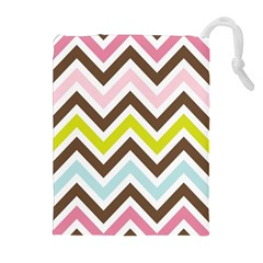 Chevrons Stripes Colors Background Drawstring Pouches (extra Large)