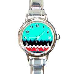 Pattern Digital Painting Lines Art Round Italian Charm Watch