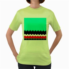 Pattern Digital Painting Lines Art Women s Green T Shirt