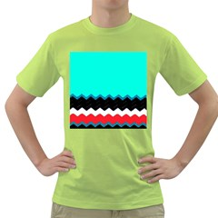 Pattern Digital Painting Lines Art Green T Shirt