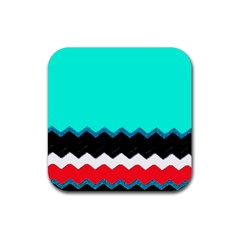 Pattern Digital Painting Lines Art Rubber Square Coaster (4 Pack)