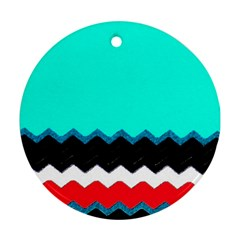 Pattern Digital Painting Lines Art Round Ornament (two Sides)