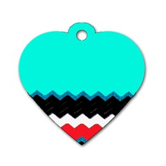 Pattern Digital Painting Lines Art Dog Tag Heart (two Sides)