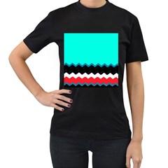 Pattern Digital Painting Lines Art Women s T Shirt (black)