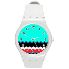 Pattern Digital Painting Lines Art Round Plastic Sport Watch (m)