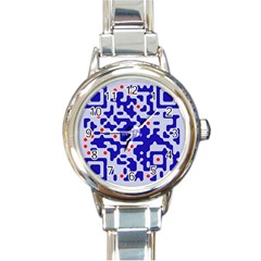 Digital Computer Graphic Qr Code Is Encrypted With The Inscription Round Italian Charm Watch