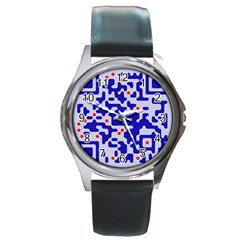 Digital Computer Graphic Qr Code Is Encrypted With The Inscription Round Metal Watch