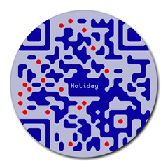 Digital Computer Graphic Qr Code Is Encrypted With The Inscription Round Mousepads