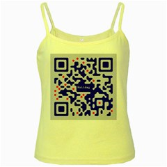 Digital Computer Graphic Qr Code Is Encrypted With The Inscription Yellow Spaghetti Tank
