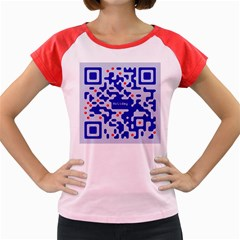 Digital Computer Graphic Qr Code Is Encrypted With The Inscription Women s Cap Sleeve T Shirt