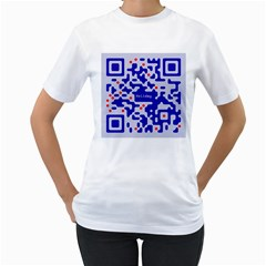 Digital Computer Graphic Qr Code Is Encrypted With The Inscription Women s T Shirt (white) (two Sided)