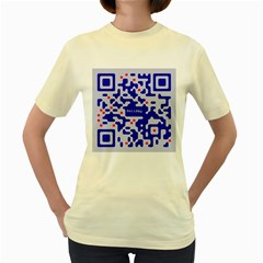 Digital Computer Graphic Qr Code Is Encrypted With The Inscription Women s Yellow T Shirt