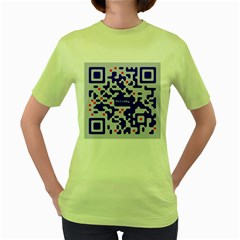 Digital Computer Graphic Qr Code Is Encrypted With The Inscription Women s Green T-Shirt