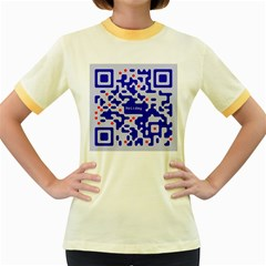 Digital Computer Graphic Qr Code Is Encrypted With The Inscription Women s Fitted Ringer T Shirts