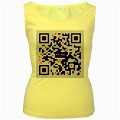Digital Computer Graphic Qr Code Is Encrypted With The Inscription Women s Yellow Tank Top