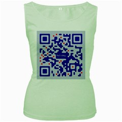 Digital Computer Graphic Qr Code Is Encrypted With The Inscription Women s Green Tank Top