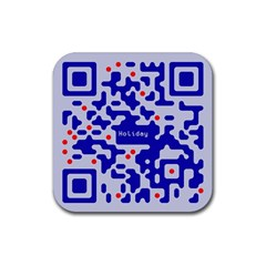 Digital Computer Graphic Qr Code Is Encrypted With The Inscription Rubber Square Coaster (4 pack)