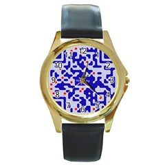 Digital Computer Graphic Qr Code Is Encrypted With The Inscription Round Gold Metal Watch